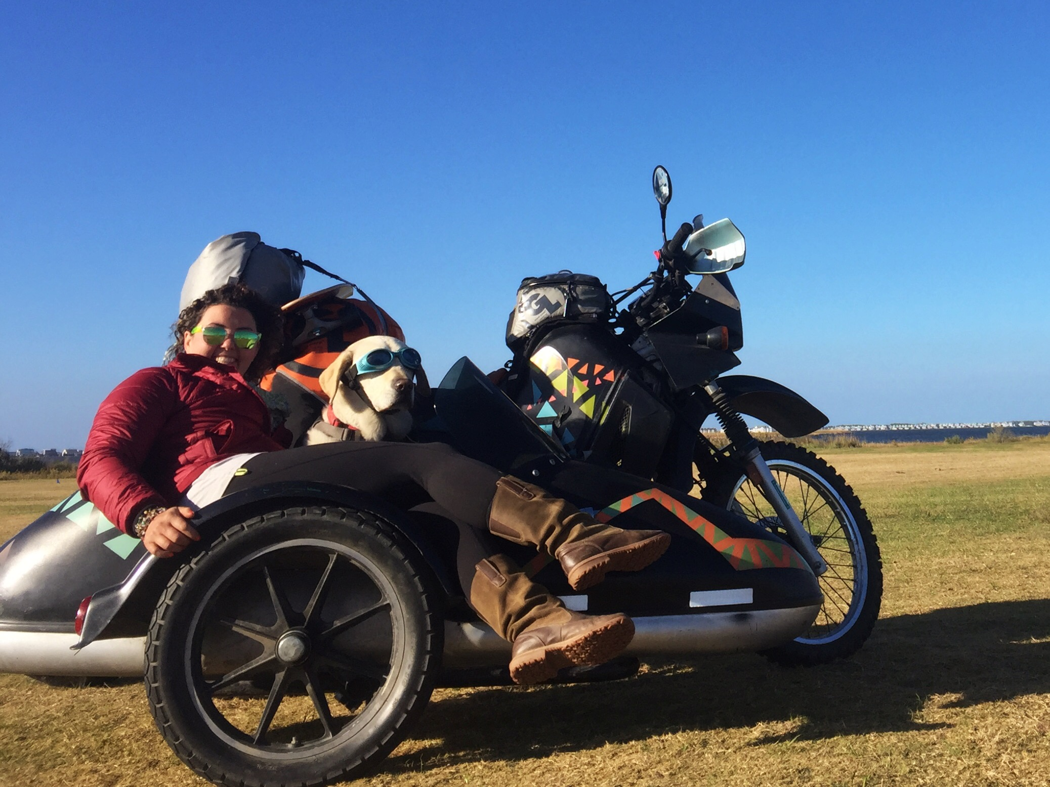 Operation Moto Dog featuring Mallory Paige, Baylor the dog and Rufio the motorcycle/sidecar.
