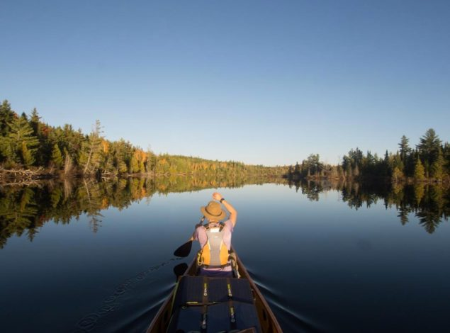 Amy paddling in the BWCA. Photo courtesy of Amy Freeman.