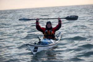 Sarah Outen paddling across the English Channel in 2011.