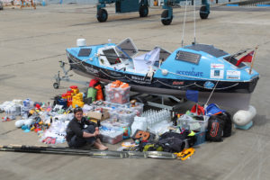 Sarah Outen with everything she needs to row across the North Pacific in 2012.